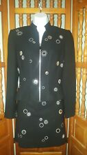 ALBERTO MAKALI CACHE Size 2 Women's Black Mirrored Suit, Jacket Skirt Business
