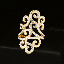 Vintage Micro Paved Crystal Hollow Lace Flower Rings For Women Lady Gift 2 Color