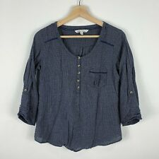 Fat Face Womens Top Size 10 Blue 3/4 Sleeve Round Neck Button Closure