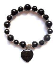 black onyx gemstone healing heart bracelet with gift bag elasticated