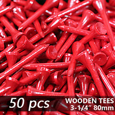 "X 50 Gloss Red New Golf Tee Natural Wooded Tees 3-1/4"" 80Mm Long Length"