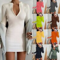 Women's Sexy Slim Pencil Dress Lady Solid Long Sleeve Bodycon Ball Gown Dresses