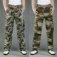 Mens Cotton Cargo Pants Military Combat Camouflage Army Trousers Outdoor Casual