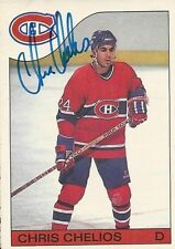 Signed Chris Chelios Montreal Canadiens 85-86 O-PEE-CHEE  Hockey Card #51