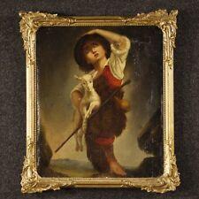 Antico dipinto olio su tela quadro personaggio pastore pastorello capra XIX 800
