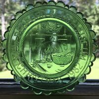 VTG Christmas Pairpoint Cup Plate Parlor Fireplace 1982 New Bedford Glass Museum