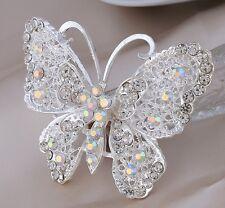 Gran mariposa filigrana plata blanco cristales de la CZ Diamante Estrás Con Broche Pin