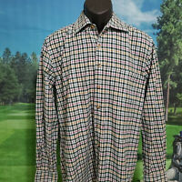 PAUL STUART MENS LONG SLEEVE GREEN PLAID DRESS 100% COTTON SHIRT SIZE MEDIUM