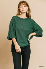 UMGEE Forest Heathered Rolled Sleeve Knit Top Size SML + Plus Size
