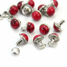 20Pcs Red Resin Stud Metal Rivets Punk For Shoes Bags Decor DIY Craft Su fhf