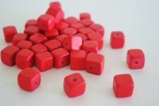 40 pce Red Wood Square Beads 10mm x 10mm Tribal Jewellery Craft