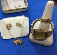 Black Hills Gold Set Watch,ring,earrings& Necklace
