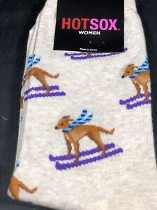 Womens Hot Sox Beige Tan Dog Purple Ski Blue Scarf One Size Mid Calf Casual NEW
