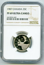 1987 CANADA 25 CENT NGC PF69 ULTRA CAMEO QUARTER PROOF POP ONLY 18 KNOWN