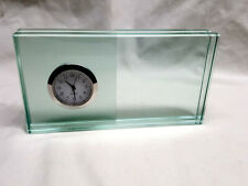 Vintage Heavy Green Art Glass Table Clock With Picture Frame