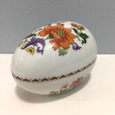 Limoges France Hand Painted Colorful Floral Egg Procelain Trinket Box