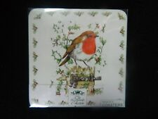 Set Of 4 x Coasters robin lovely for christmas, new leonardp collection