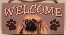 Welcome Pekingese Dog Breed Wood Sign Plaque New