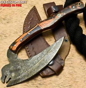SFK Handmade Damascus Steel Hard Wood Hunting Clever Chopper Axe Knife