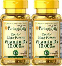 2x100 Puritan's Pride Vitamin D3 10000 IU Mega-Potency 200 Softgels 05/2020