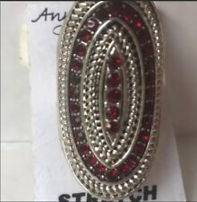 RUBY RED BIG LARGE bohemian RING stretchy band NEW silver tone rhinestones
