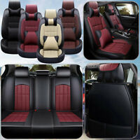 Luxury Car Seat Cover Breathable PU Leather 5-Seats Full Set Protectors Cushion