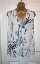 LADIES NEXT TOP SIZE 14,Sleeveless notch neck Stretch Summer Floral Tunic Blouse