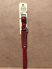 """Bond & Co. Dog Collar Red with studs And Bling Size XXS adjustable 8-10"""" New"""