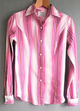 TM Lewin ladies womens fitted tailored pink white striped shirt pure cotton UK 8