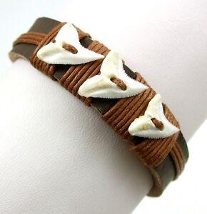 "Mako Shark Teeth Leather Surfer Cuff Beach Bracelet 6""-9"" Adjustable BA227"