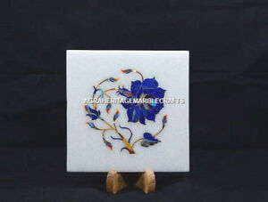 "5"" Marble Square Plate Marquetry Lapis Floral Inlay Stones Kitchen Decor H5451"