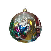 """Santa with Child Glass Christmas Tree Ornament 4"""" Stockings Presents"""