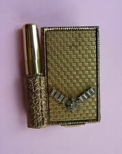 New listing Vintage Rhinestone Purse Mirrored Compact With Lipstick Holder & Brush *Sweet*