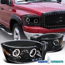 06-08 Dodge Ram 1500 2500 3500 Shiny Black Projector Headlights W/ Dual LED Halo