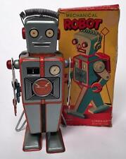 VINTAGE LINEMAR JAPAN TIN WIND UP EASEL BACK ROBOT & ORIGINAL BOX EXCELLENT NR!!