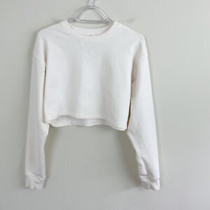 Lululemon Oh Hey Cropped French Terry Pullover Sweater Cream Size 6 FLAW