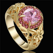 Size 8 Jewelry Pink Topaz 18K yellow gold filled Fashion Band Rings For Womens