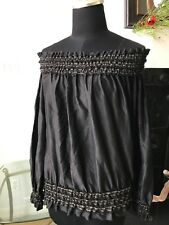 RALPH LAUREN BLACK LABEL BLACK W/GOLD RUFFLED PIPING ON/OFF SHOULDER TOP SZ 4