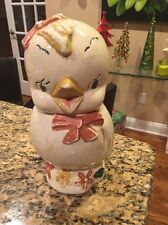 Baby Chick with Red Bow, Cookie Jar - Am. Bisque Pottery - Shawnee - Vintage
