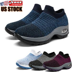 Women's Air Cushion Walking Sock Shoes Slip on Sneakers Platform Athletic Shoes