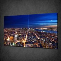 NEW YORK CITY AT NIGHT TWIN TOWERS TRIBUTE BOX CANVAS PRINT WALL ART PICTURE