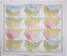 1899 LARGE WEATHER METEOROLOGY MAP ISOTHERMS UNITED STATES & CANADA TEMPERATURE
