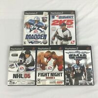 Lot of 5 PlayStation 2 PS2 games Madden Fight Night NHL Blitz League CIB tested