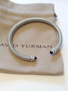 David Yurman 5mm Classic Sterling Silver Bracelet Black Onyx & Diamond