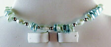 NWOT Unique Blue Glass Pearl with Silver Accents Bracelet with Toggle Clasp