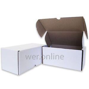 """50 x Compact Mail White Diecut Cardboard Boxes 8 x 4 x 4"""" SW"""