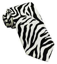 New Polyester Zebra Animal Print Formal Party occasion Necktie White