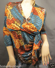 NWT WRANGLER Multi-Colored Print Faux Wrap Shirt Blouse Medium  #LWK857M