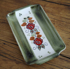 SMF Schramberg Tirol Keramik Fleischplatte ca 32 cm handbemalt Rot Grün Blumen