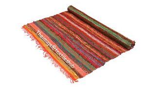 4x6 Ft Indian Handmade Chindi Rug Floor Hand-Woven Yoga Mat Area Rugs Mat Carpet
